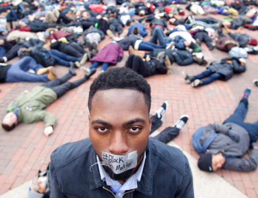 Black lives matter with covered magazine